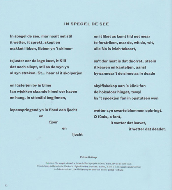 gedicht In spegel de see