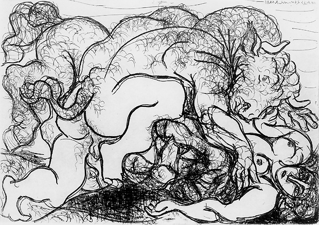 picasso, minotaure attaquant une amazoen, ets op papier, 1933